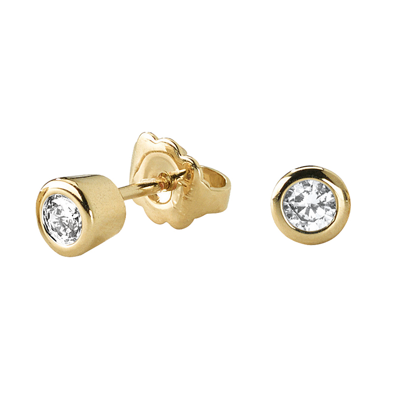 LIGHT TOUCH SMALL Earrings, gold plated, Zirconia