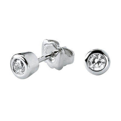 LIGHT TOUCH SMALL Earrings, rhodium plated, Zirconia