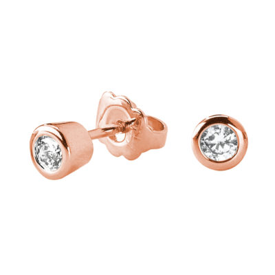 LIGHT TOUCH SMALL Earrings, rose gold plated, Zirconia