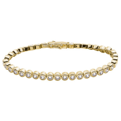 TENNIS Bracelet, gold plated, Zirconia