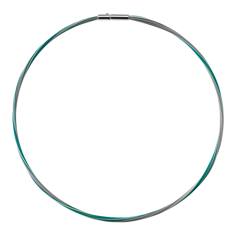 COLORE Necklace, rhodium plated, green