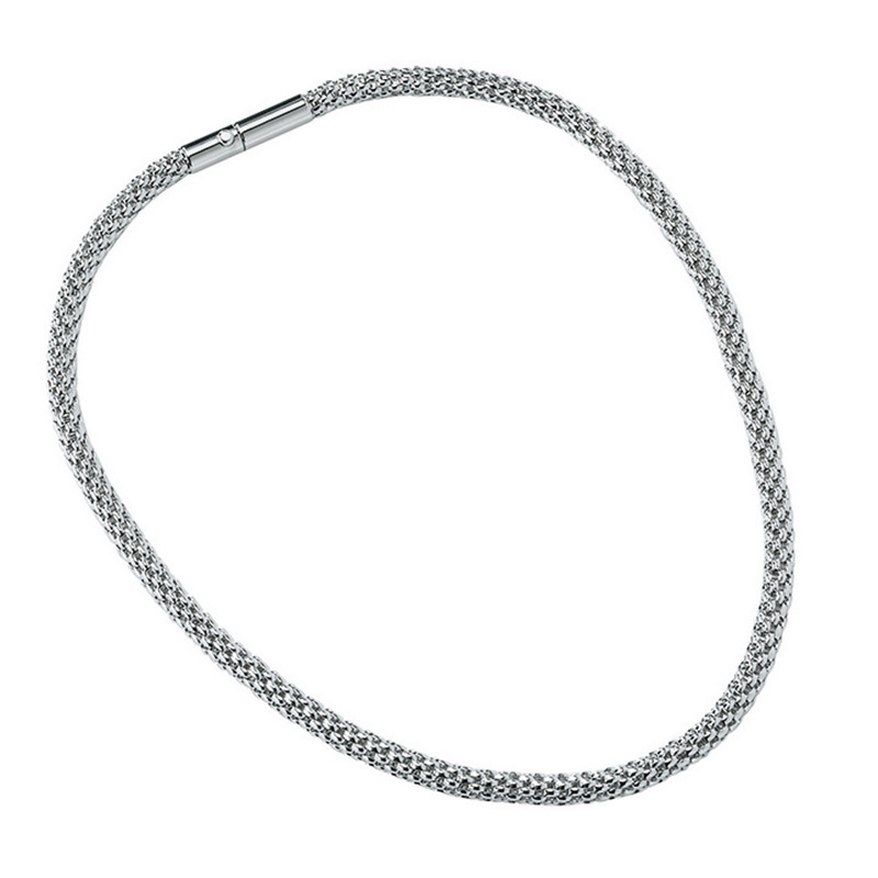 ROUNDER Necklace, rhodium plated