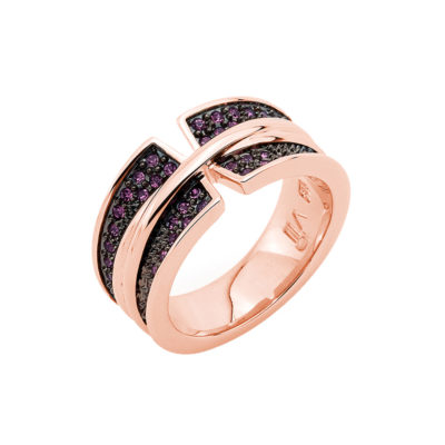 CORSAGE Ring, rose gold plated, amethyst