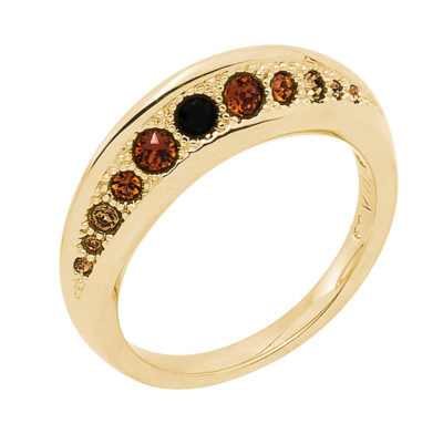 GALAXY FLAME Ring, gold plated, multi brown
