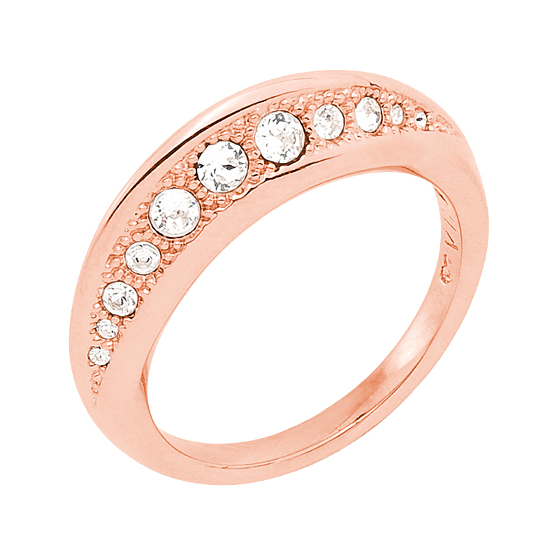 GALAXY FLAME Ring, rose gold plated, crystal coloured