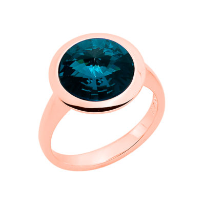 GALAXY STAR Ring, rose gold plated, dark blue