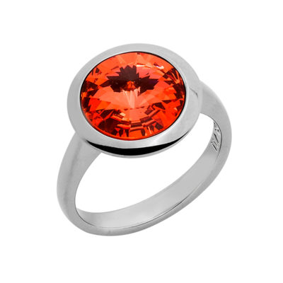 GALAXY STAR Ring, ruthenium, orange