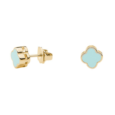 CHIC Earrings, gold plated, light turquoise coloured