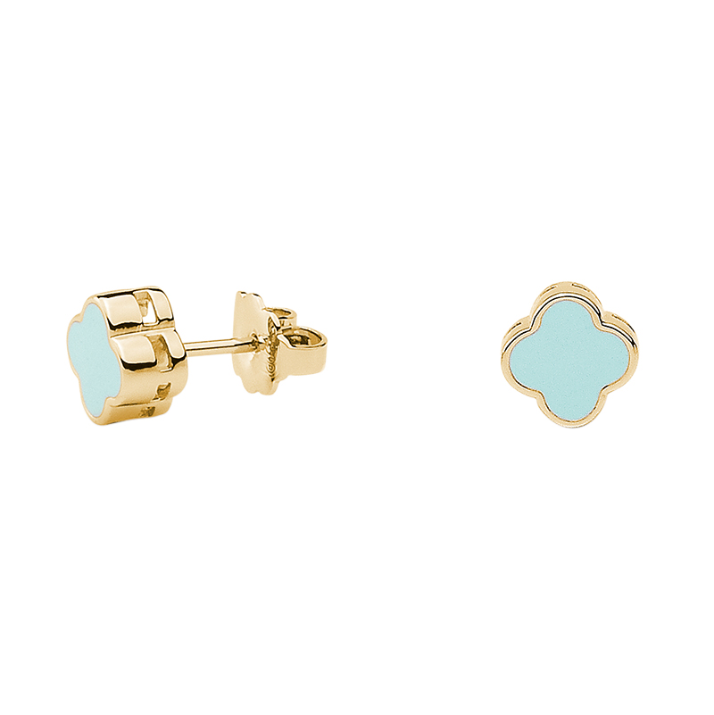 CHIC Earrings, gold plated, light turquoise