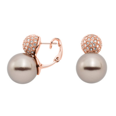 AVA Ear Creoles, rose gold plated, beige, crystal
