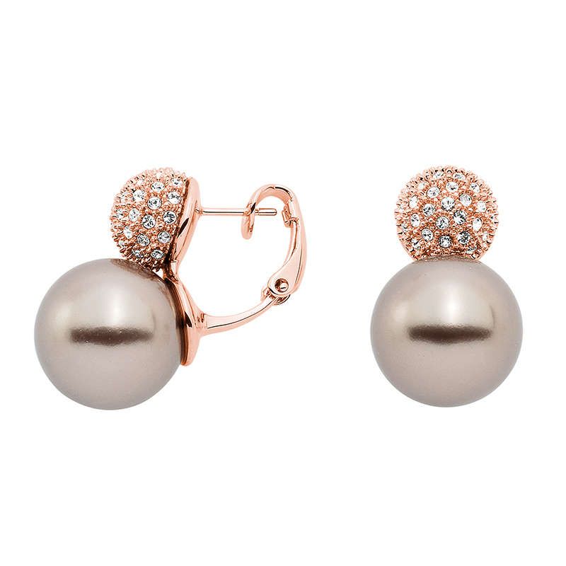 AVA Earrings, rose gold plated, beige