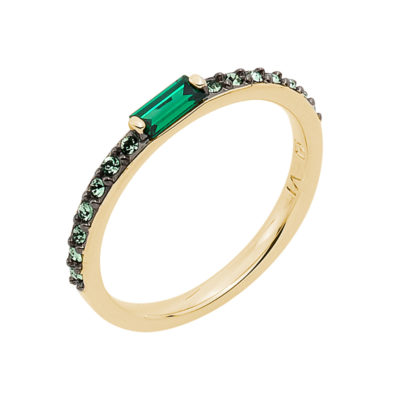 SUGAR BAGUETTE Ring, gold plated, emerald green, green