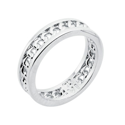 CHAIN LOVE Ring, rhodium plated
