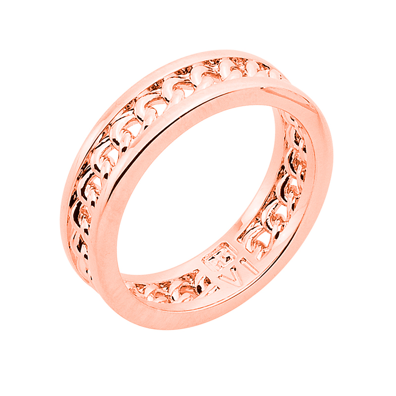 CHAIN LOVE Ring, rose gold plated