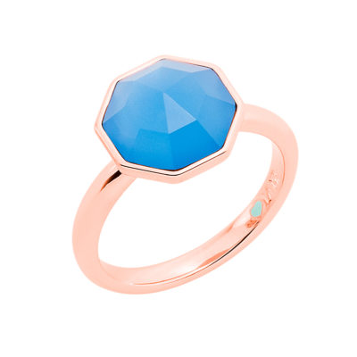 FELICITA Ring, rose gold plated, blue