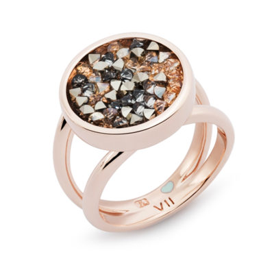 FORTUNA Ring, rose gold plated, multicoloured