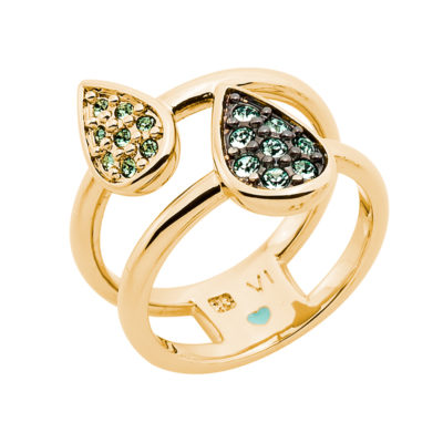 DANCING DROPS Ring, gold plated, light green, green