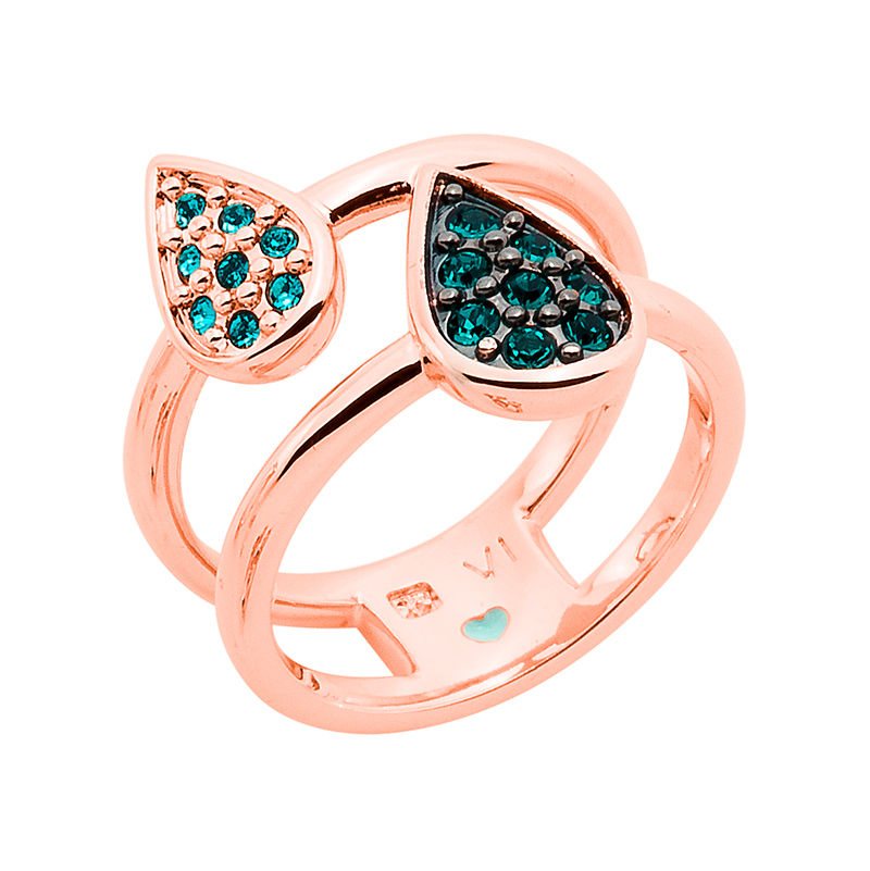 DANCING DROPS Ring, rose gold plated, emerald, turqouise
