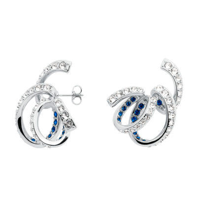 CELEBRATION Earrings, rhodium plated, blue, crystal coloured