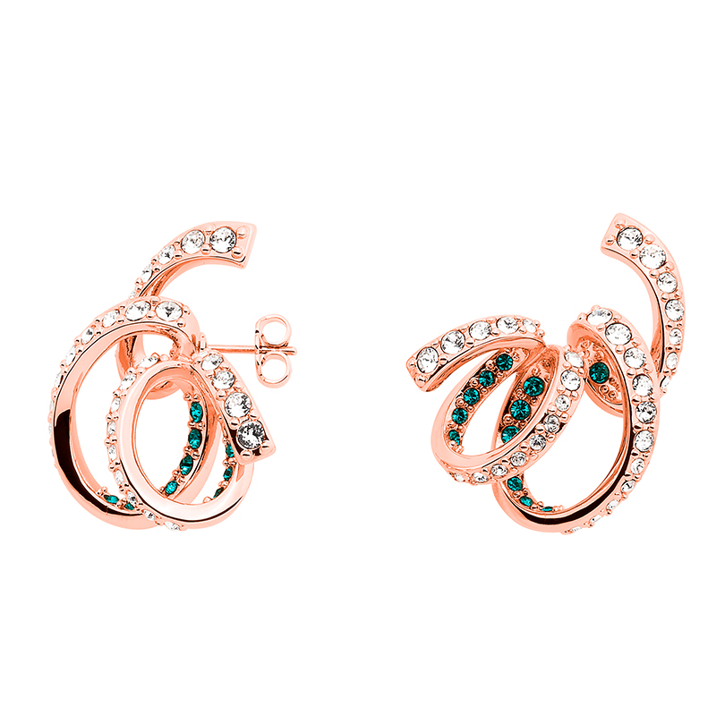 CELEBRATION Earrings, rose gold plated, dark turqouise, crystal coloured