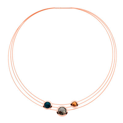 GALAXY STAR Necklace, rose gold plated, dark blue, grey, light topaz