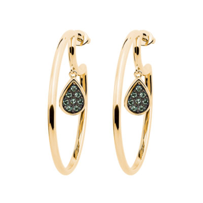 DANCING DROPS Earrings, gold plated, light green