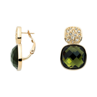 DOLCE VITA Ear Creoles, gold plated, olivine-green, crystal