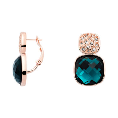 DOLCE VITA Earrings, rose gold plated, dark blue, crystal coloured