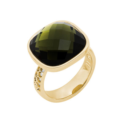DOLCE VITA Ring, gold plated, olivine-green, crystal coloured