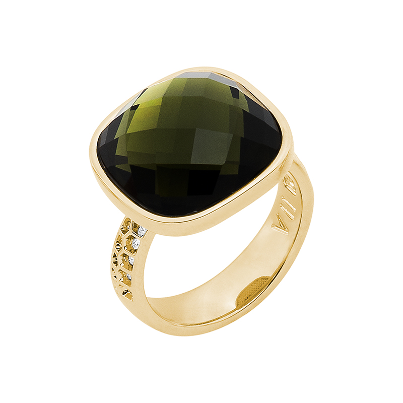 DOLCE VITA Ring, gold plated, olivine-green, crystal