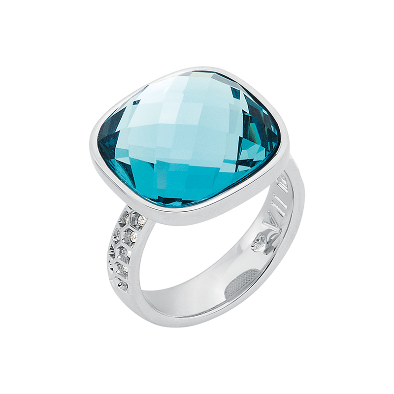DOLCE VITA Ring, rhodium plated, light blue, crystal