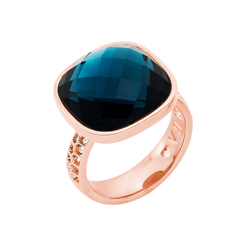 DOLCE VITA Ring, rose gold plated, dark blue, crystal coloured