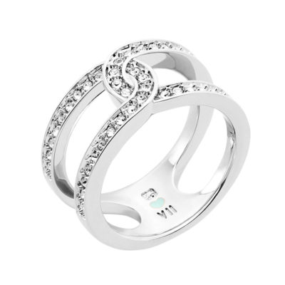 DATING A ROYAL Ring, rhodium plated, crystal coloured