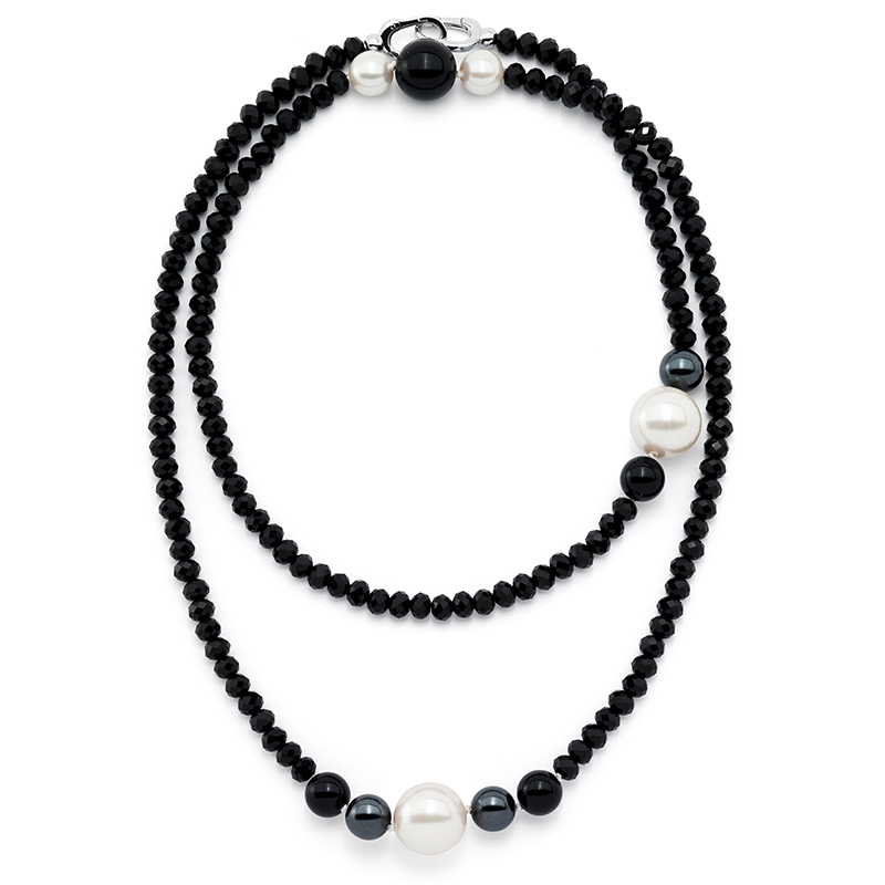 MAGIC ORCHIDEA PEARL Collier, rhodium plated, black, multicoloured