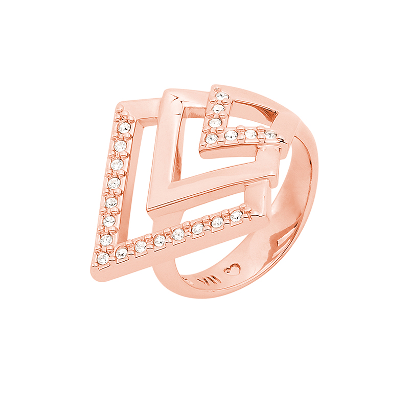 VIENNA Ring, rose gold plated, crystal coloured