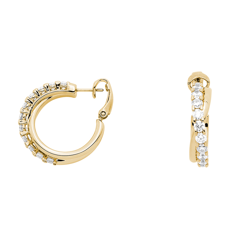 SMILE Earrings, gold plated, Zirconia