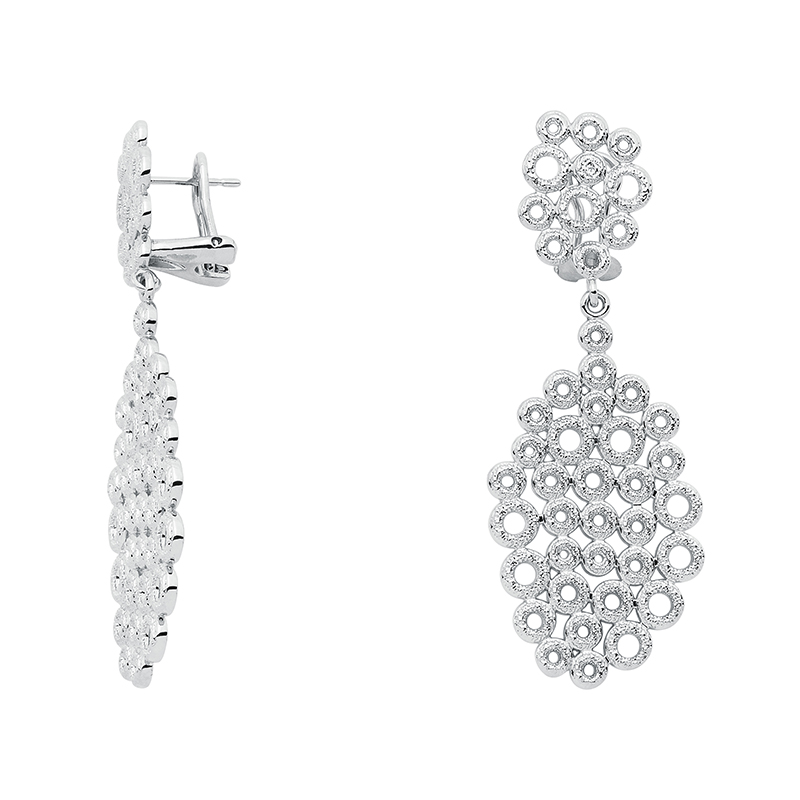 THE KISS Ear Creoles, rhodium plated