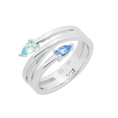 HONEY CANDY Ring, rhodium plated, blue, light turquoise