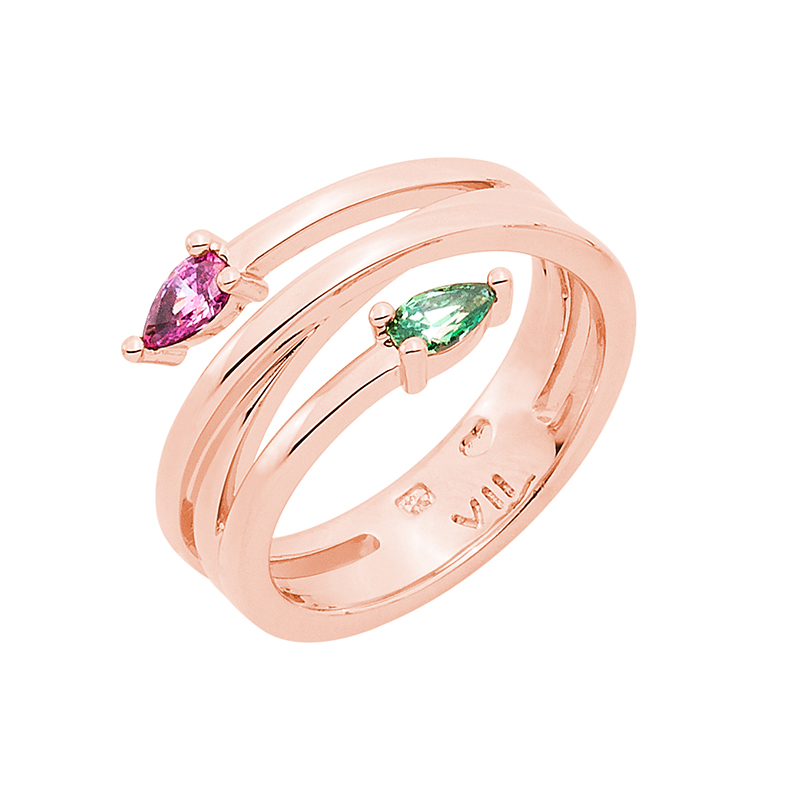 HONEY CANDY Ring, rose gold plated, pink, green