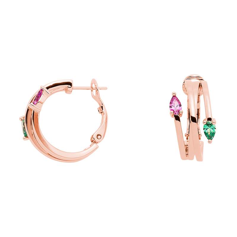 HONEY CANDY Earrings, rose gold plated, pink, green
