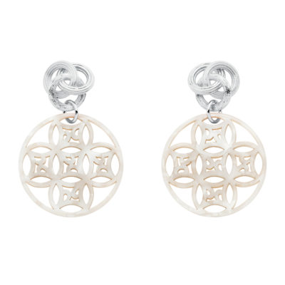 DREAMCATCHER Earrings, rhodium plated, mother-of-pearl