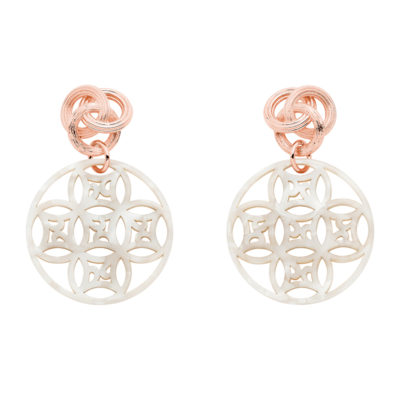 DREAMCATCHER Earrings, rose gold plated, mother-of-pearl
