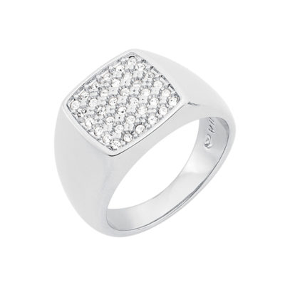 SUGAR DANDY Ring, rhodium plated, crystal coloured