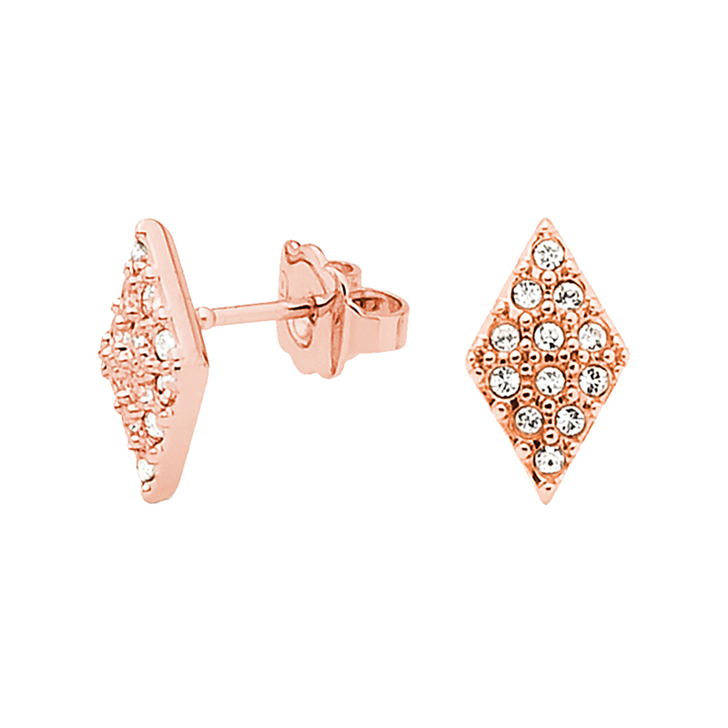 SUGAR PYRAMID Earrings, rose gold plated, crystal coloured