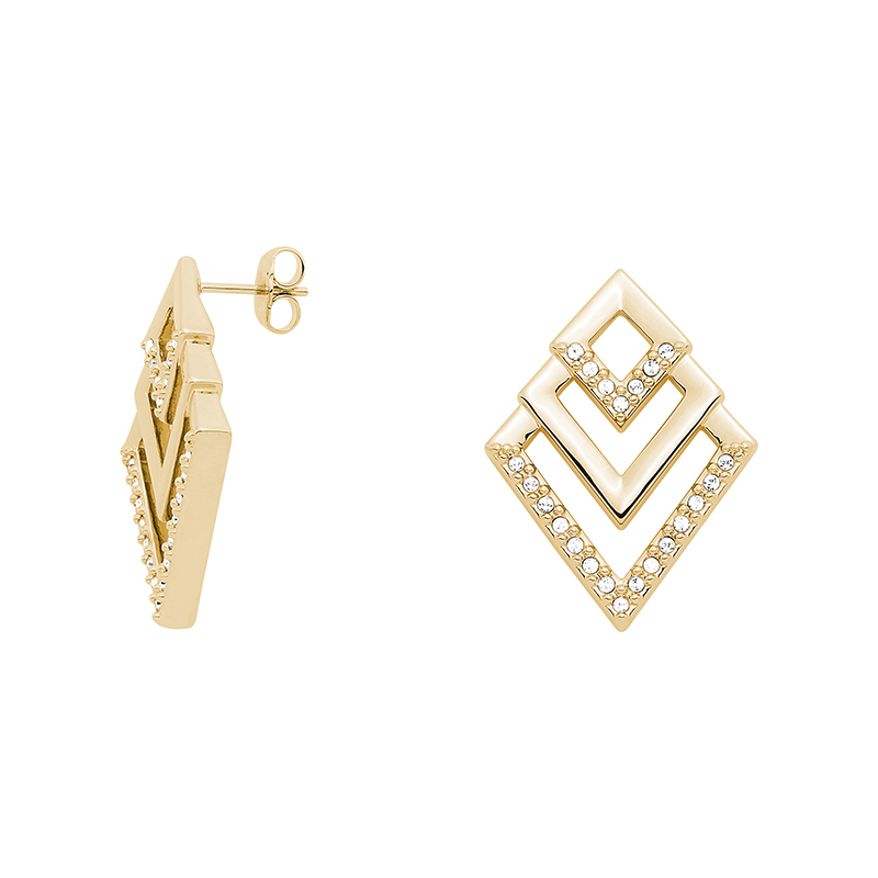 VIENNA Earrings, gold plated, crystal coloured