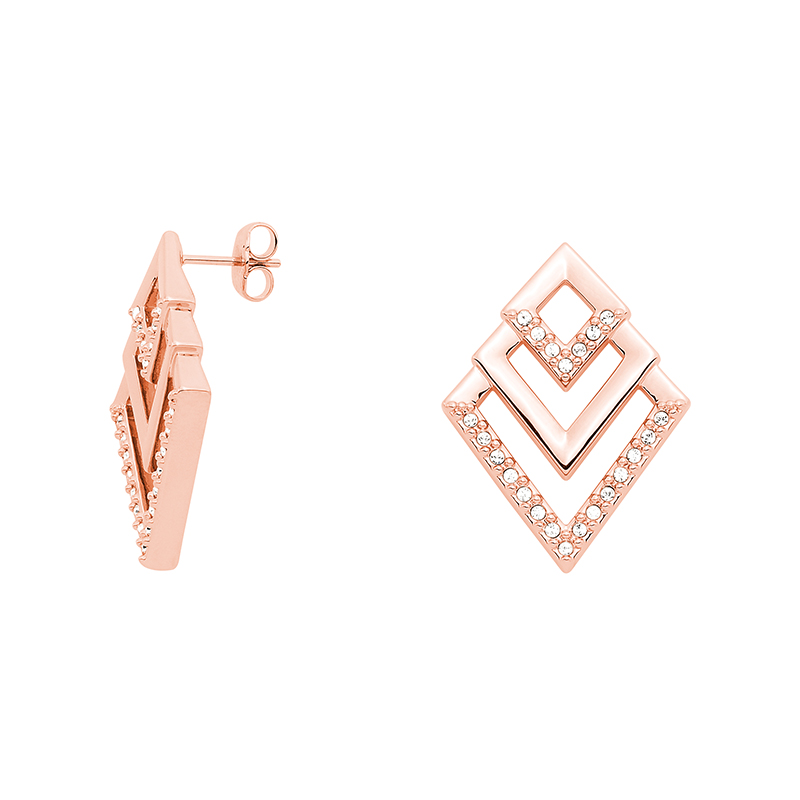VIENNA Earrings, rose gold plated, crystal coloured