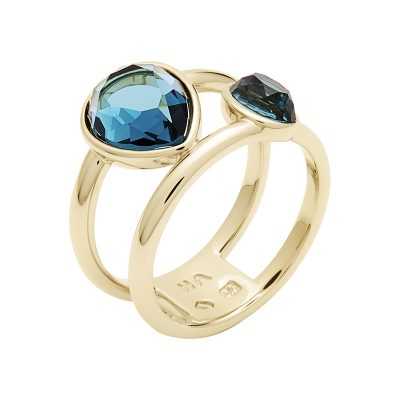 LUXOR Ring, gold plated, blue