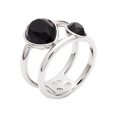 LUXOR Ring, rhodium plated, black