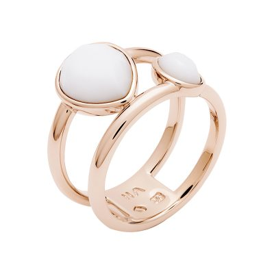 LUXOR Ring, rose gold plated, white