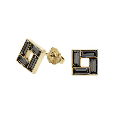 MOSAIC Earrings, gold plated, grey